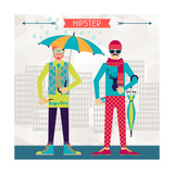 Two Hipsters On Urban Background In Retro Style Print by  incomible