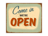 Vintage Tin Sign - Open Sign - Raster Version Poster by Real Callahan