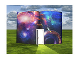 Book With Science Fiction Scene And Open Doorway Of Light Posters by  rolffimages