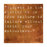 Inspirational Quote By Winston Churchill On Earthy Brown Background Posters by  nagib