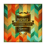 Hairdressing Background In Retro Style Posters by  incomible