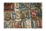 A Random Selection Of Vintage And Colorful Letterpress Numbers As A Background Prints by  Space-Heater