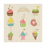 Set Of Cute Cupcakes And Desserts - For Design, Scrapbook, Invitation Premium Giclee Print by  woodhouse