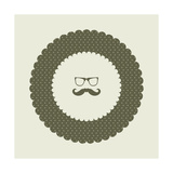 Special Labels With Hipster Mustache Print by  place4design