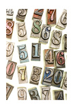 A Random Selection Of Colorful Letterpress Numbers As A Background Print by  Space-Heater