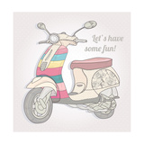 Colorful Vintage Scooter. Postcard, Greeting Card Or Invitation Posters by cherry blossom girl