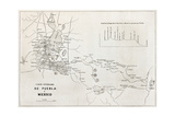 Old Map Of The Road From Puebla To Mexico City Print by  marzolino