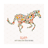 Chinese New Year Of The Horse Illustration Pósters por  cienpies