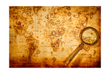 Vintage Still Life. Vintage Magnifying Glass Lies On An Ancient World Map Art by Andrey Armyagov