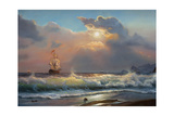 Oil Painting On Canvas , Sailboat Against A Background Of Sea Affiches par  Lilun