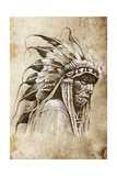 Sketch Of Tattoo Art, Native American Indian Head, Chief, Vintage Style Prints by  outsiderzone