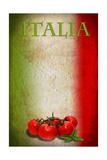 Traditional Italian Flag With Tomatoes And Basil Affiches par  pongiluppi