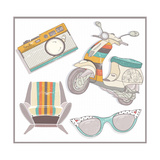 Retro Elements Set. Armchair, Scooter,Camera And Sunglasses Posters by cherry blossom girl