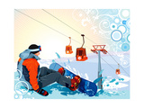 A Snowboarder Sitting On Snow Grief Posters by Aleksey Vl B.