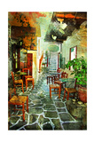 Streets With Tavernas (Pictorial Greece Series) Posters af Maugli-l
