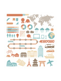 Tourism Infographic Set With Colorful Icons Design Elements Posters by  kusuriuri