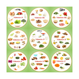 Collage Of Various Food Products Containing Vitamins Póster por  Yastremska