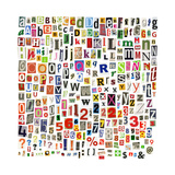 Newspaper Alphabet With Letters, Numbers And Symbols. Isolated On White Print by  donatas1205