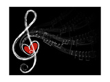 Treble Love and Music Notes Affiches par  fat_fa_tin