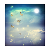 Butterflies In A Fantasy Moonligt Landscape Art by  Melpomene
