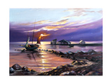 Sailing Boat Against The Coming Sun Print by  balaikin2009