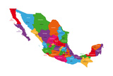 Colorful Mexico Map With State Borders And Capital Cities Poster by  Volina