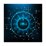 Horoscopes Zodiac Clock, New Year 2014 Abstract Background. Raster Version Posters by Valentina R.