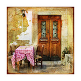 Pictorial Old Greek Streets With Tavernas - Retro Styled Picture Plakat af Maugli-l