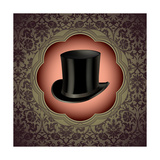Vintage Floral With Top Hat Premium Giclee Print by  Rashomon