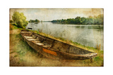 Pictorial Autumn Scene With Old Boat - Artwork In Painting Style Poster by  Maugli-l