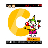 Letter C With Clown Cartoon Illustration Art by Igor Zakowski