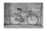 A Fixed-Gear Bicycle (Or Fixie) In Black And White With A Pink Chain Posters van  Dutourdumonde
