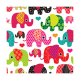 Seamless Retro Elephant Kids Pattern Wallpaper Posters av Maaike Boot