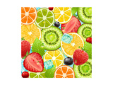 Summer Holidays Set With Cocktail Fruits And Berries Prints by Ozerina Anna