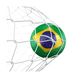 3D Rendering Of A Brazilian Soccer Ball In A Net Prints by  zentilia