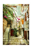 Courtyard Of Old Croatia - Picture In Painting Style Art Print Maugli-l