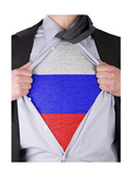 Business Man With Russian Flag T-Shirt Prints by  IJdema