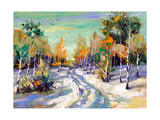 The Winter Landscape Executed By Oil On A Canvas Art by  balaikin2009