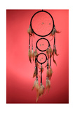 Beautiful Dream Catcher On Red Background Print by  Yastremska