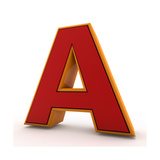 3D Alphabet, Letter A Isolated On White Background Prints by Andriy Zholudyev