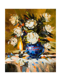 Bouquet Of White Flowers In Dark Blue Vase Prints by  balaikin2009