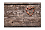 Coffee Beans In Shape Of A Heart, On Old Vintage Wooden Background. Close-Up Prints by  ouh_desire