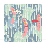 Seamless Pattern With Sausages Food Monsters Prints by  panova