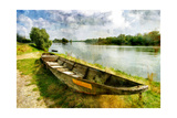 Pictorial Autumn Scene With Old Boat - Artwork In Painting Style Prints by  Maugli-l