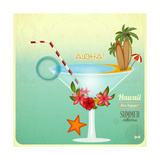 Summer Cocktail Card In Retro Style 高品質プリント :  elfivetrov
