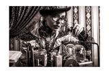 Portrait Of A Beautiful Steampunk Woman Over Vintage Background Pósters por  prometeus