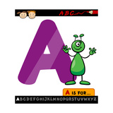 Letter A With Alien Cartoon Illustration Posters by Igor Zakowski