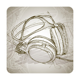 Sketch Of Headphones On The Background With Floral Patterns Prints by  -Vladimir-
