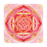 Abstract Red Painted Picture With Circle Pattern, Mandala Of Muladhara Chakra Kunst af shooarts