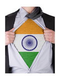 Business Man With Indian Flag T-Shirt Prints by  IJdema